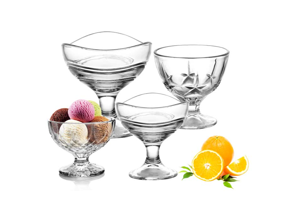 Square Shape Embossed Glass Ice Cream Cups For Dessert All Purpose Serving Bowls