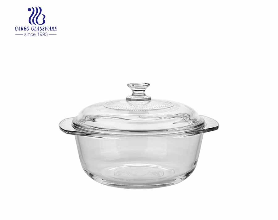 Tempered Glass 1600ml Round Glass Casserole Dish Baking Bowl With Lid