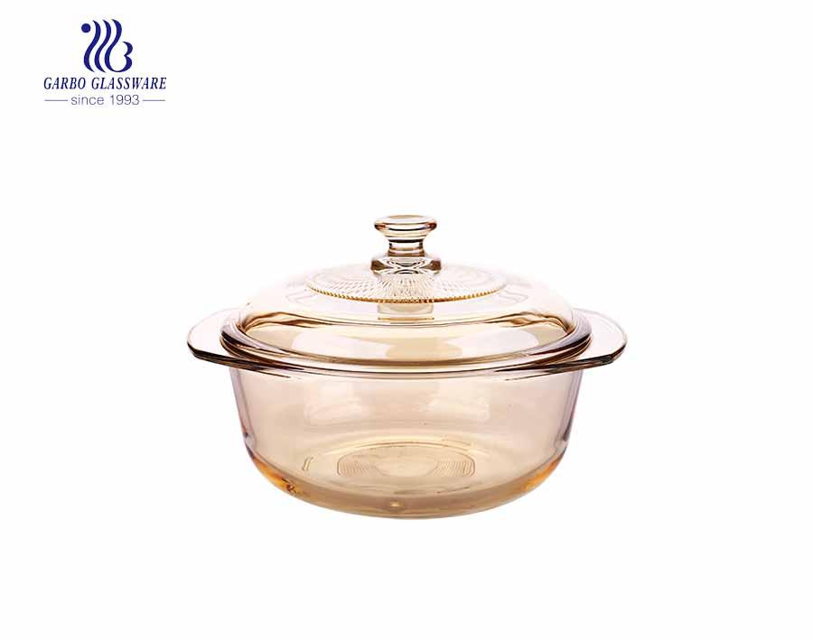 Cuenco redondo de vidrio templado de 1600 ml de cacerola de vidrio para horno con tapa
