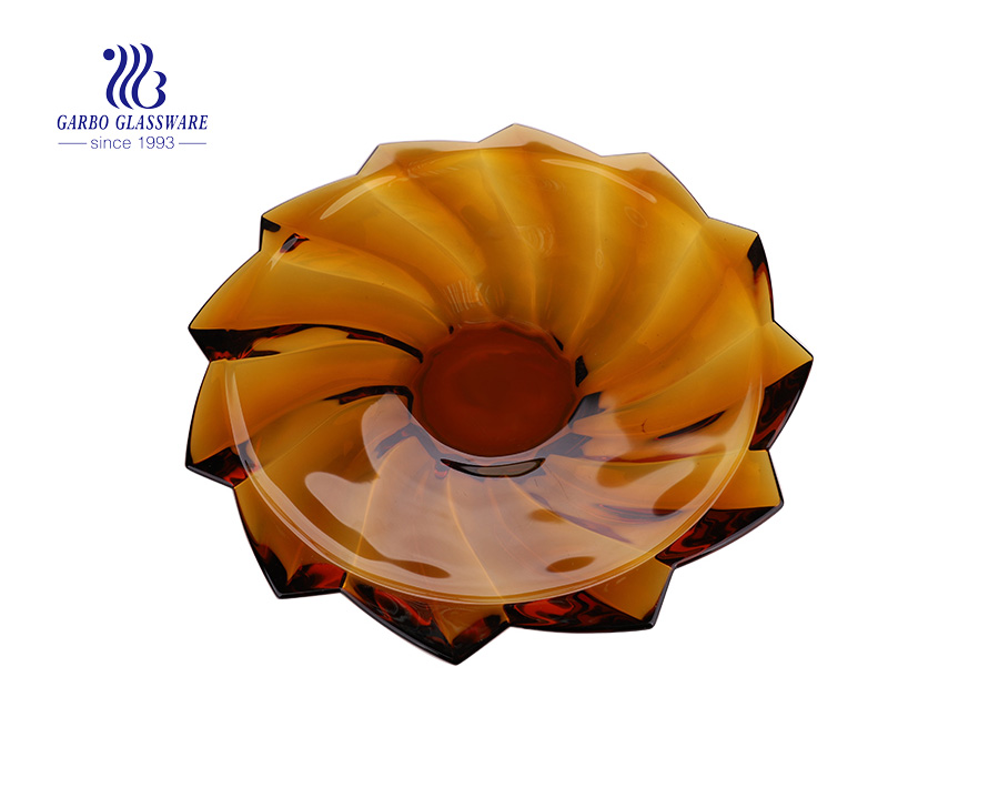 Hotsale Elegant Amber Color Glass Fruit Bowl with Three feet