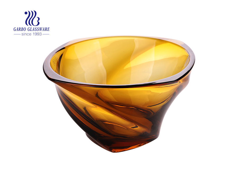 Hotsale Elegant Amber Color Glas Obstschale mit drei Füßen