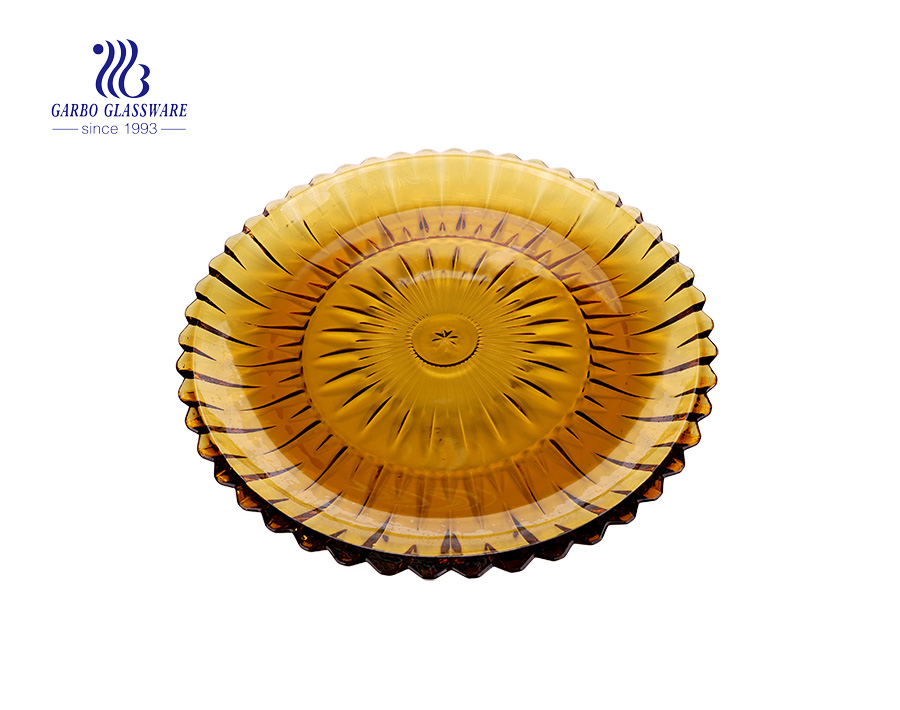 14.41'' Elegant Amber High-end Glass Plate for Fruit Serving