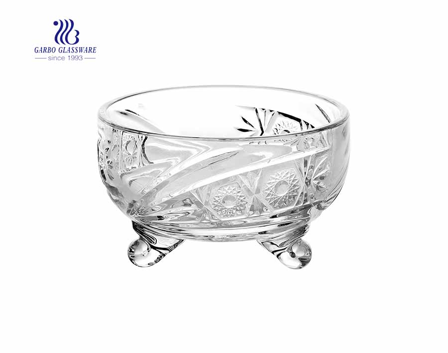 wholesale sunflower design engraved glass sugar bowl with lid for sale