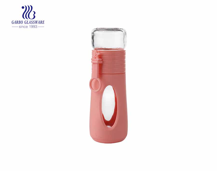 Wholesale cheap 230ml drinking glass sports bottle with silicone sleeve
