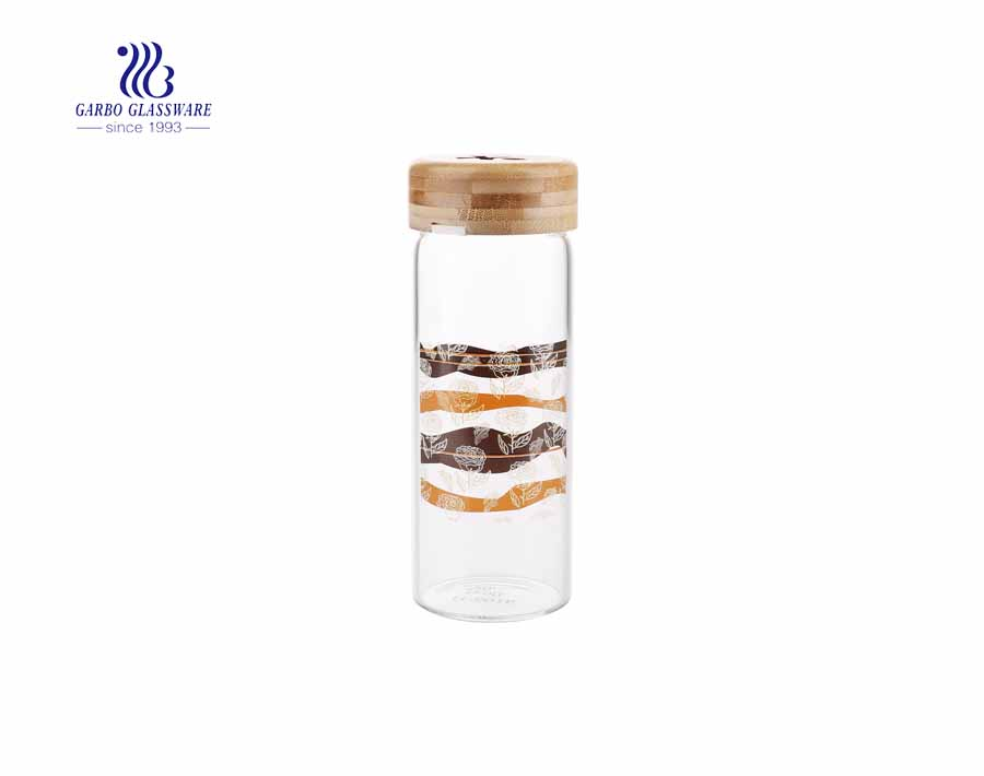 Wholesale OEM design 350ml borosilicate glass drinking bottle with bamboo lid
