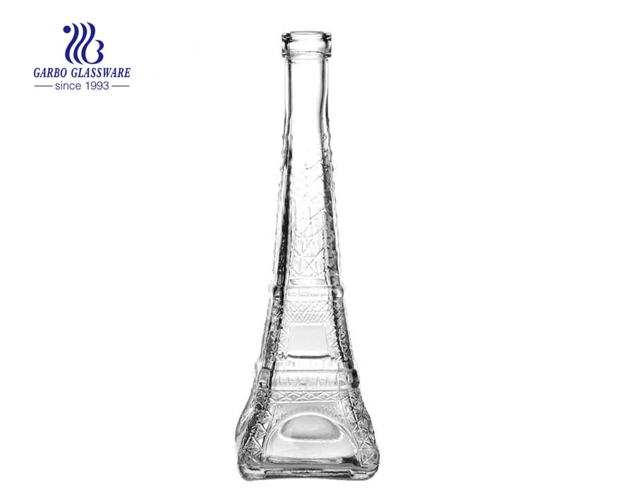 Wholesale souvenir the Eiffel Tower shape clear 370ml juice drinking glass bottle