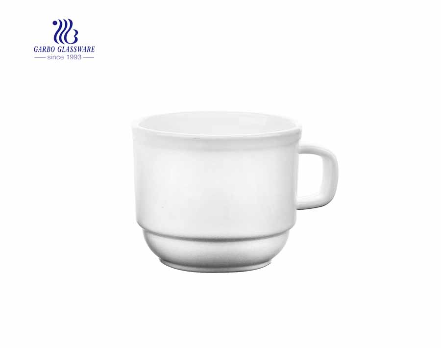 White Coffee Cup With Handle With Custom Printing Cup Set China Opal Glass Tea Mug