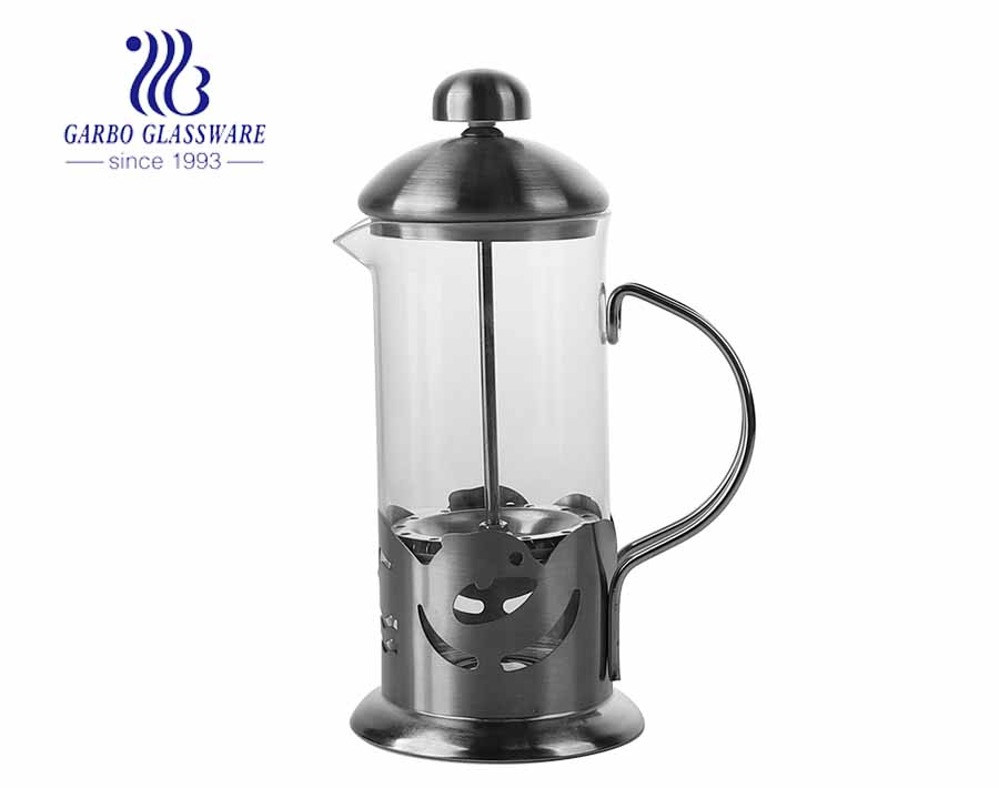 Heat-resistant 12oz Glass French Press Pot Coffee Maker for Cafe Use