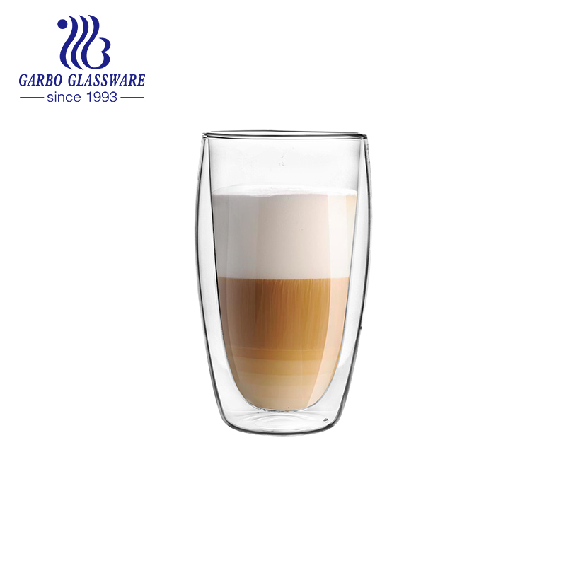 12.5oz Heat-resistant Double Wall Glass Cup with Customized Decal