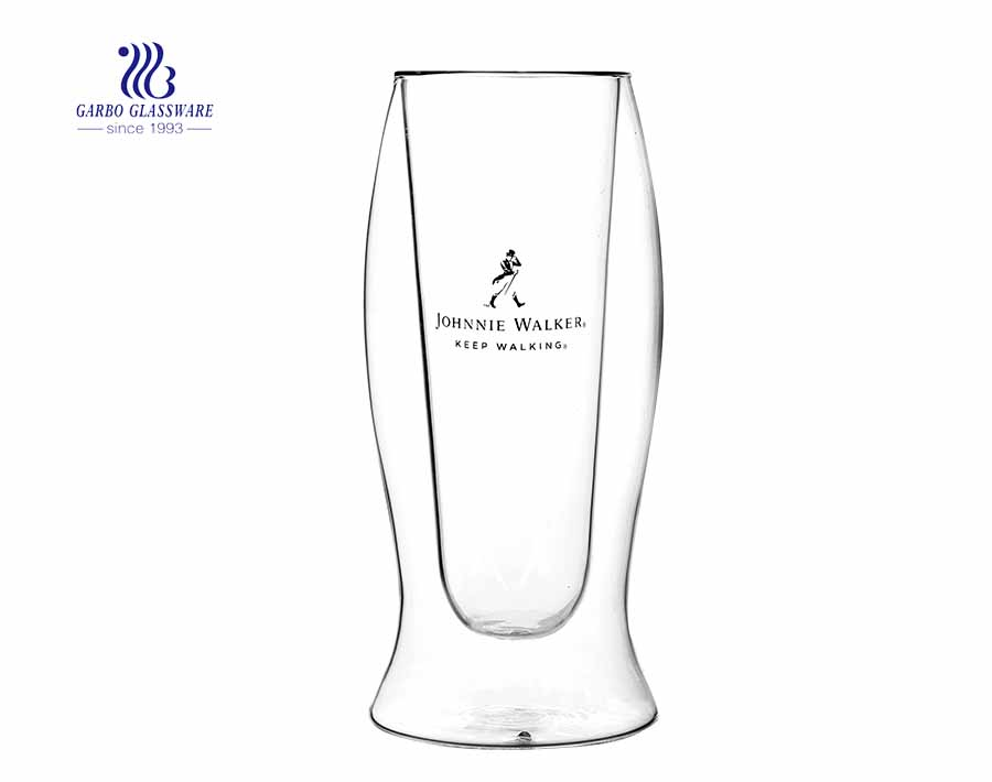 Taza de vidrio de doble pared resistente al calor de 12.5 oz con calcomanía personalizada