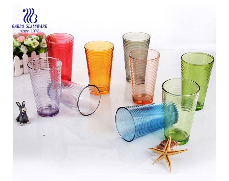 Customized multi colors glass cup large size 16oz