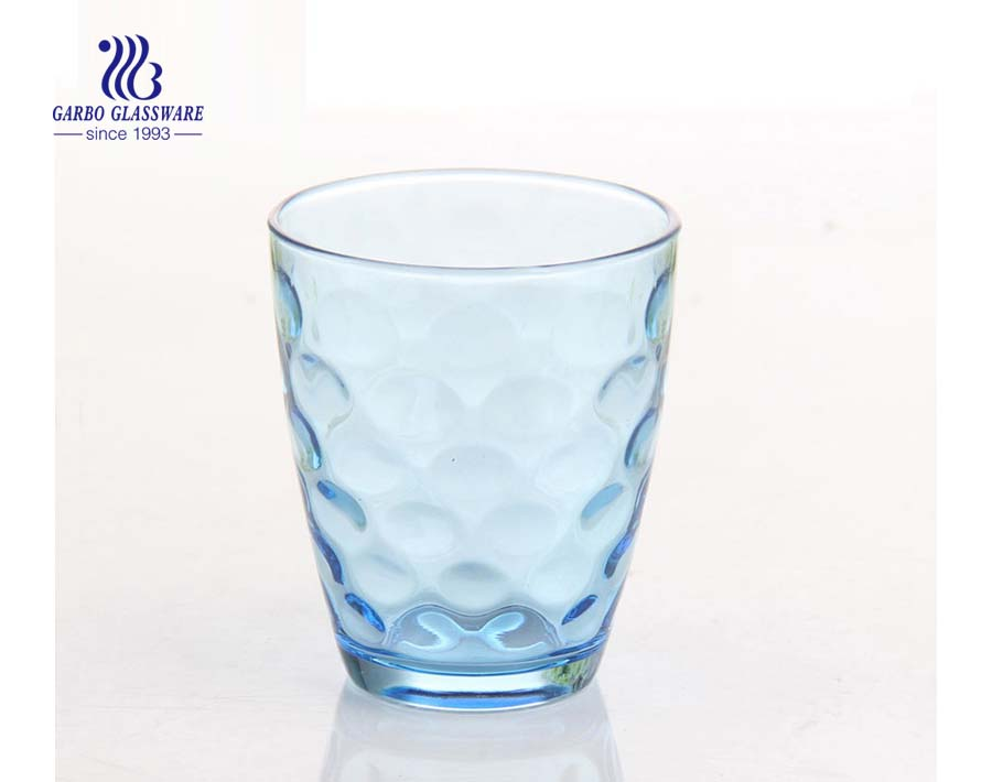 Custom sprayed colors 14oz glass cup with inside embossing