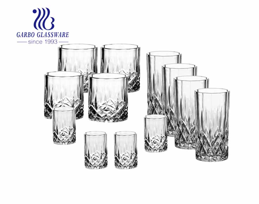 12PCS vintage whisky glass cup and embossed highball glass and shot glass drinking glasses set