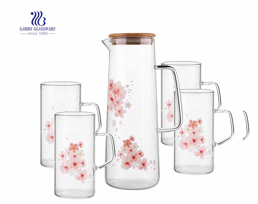 Borosilicate Glass Water Jug Set with 4 Mugs for Juice Drinking