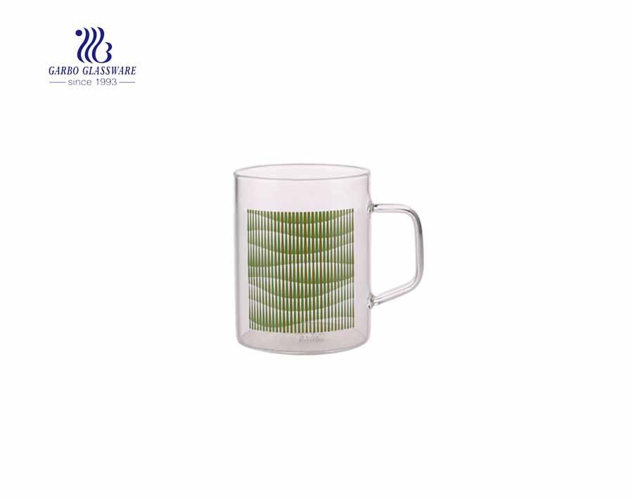 13.5oz Glass Drinking Mug with Green Decal Microwave Safe Water Cup