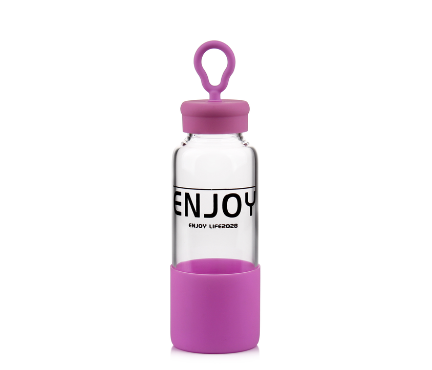 16oz Borosilicate Glass Water Bottle for Sports and Outdoors with Decal and Silicone Sleeve