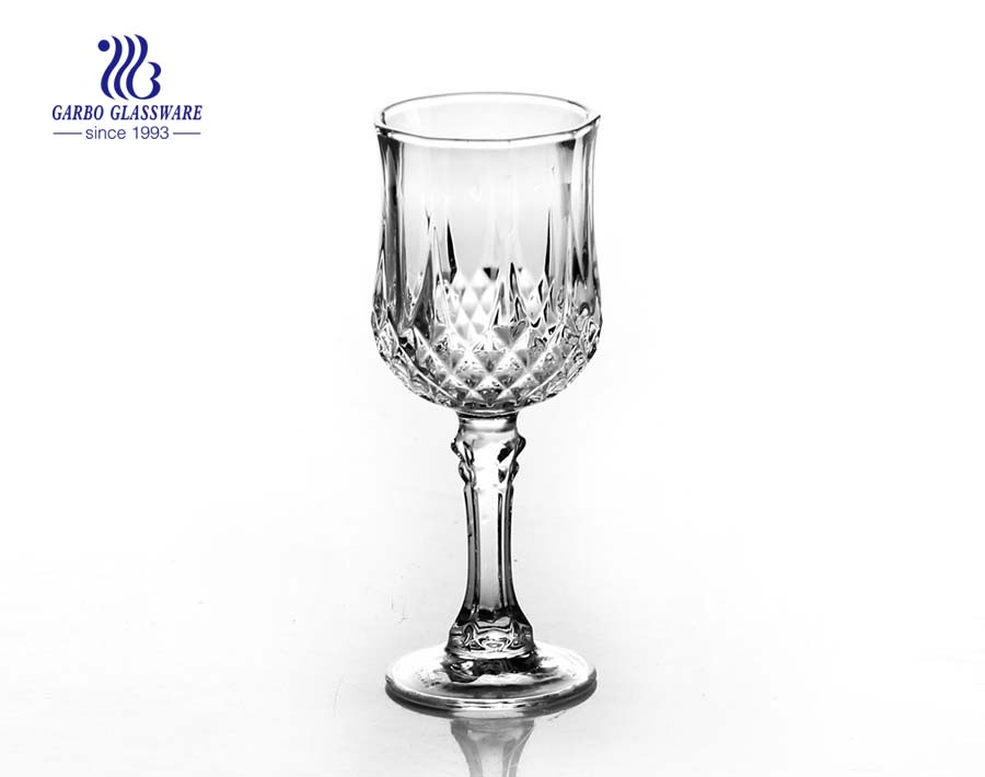 Embossed glass cup vintage diamond design drinking glasses