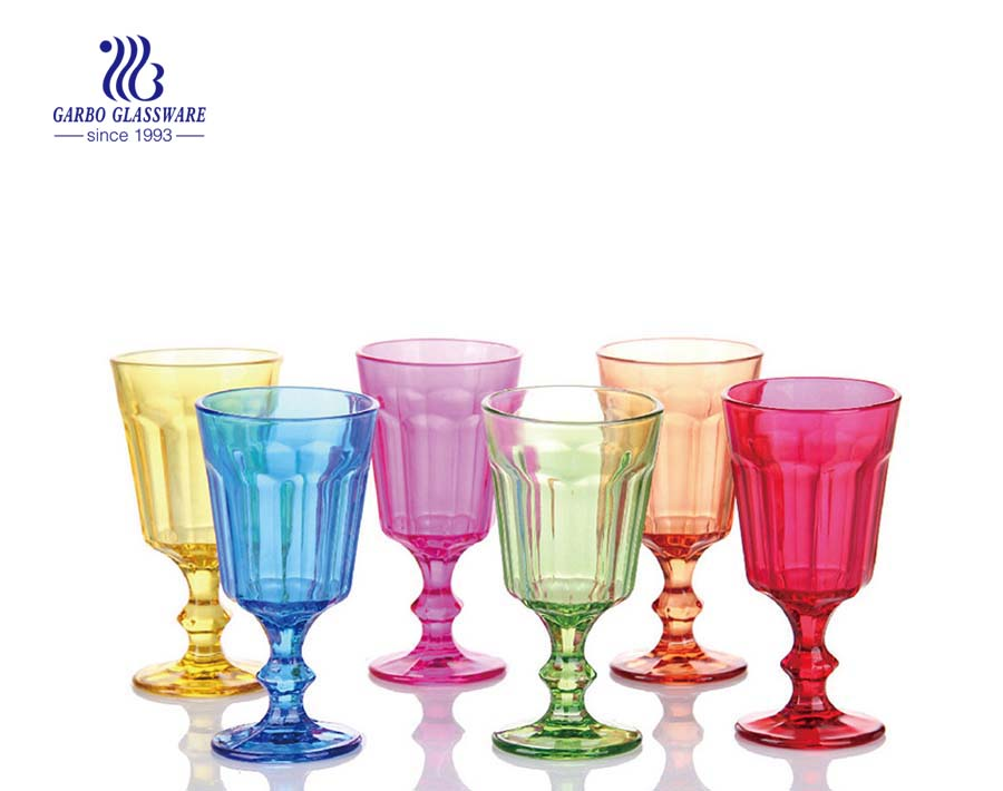 Customized spray color water beverage vintage glassware good as gift