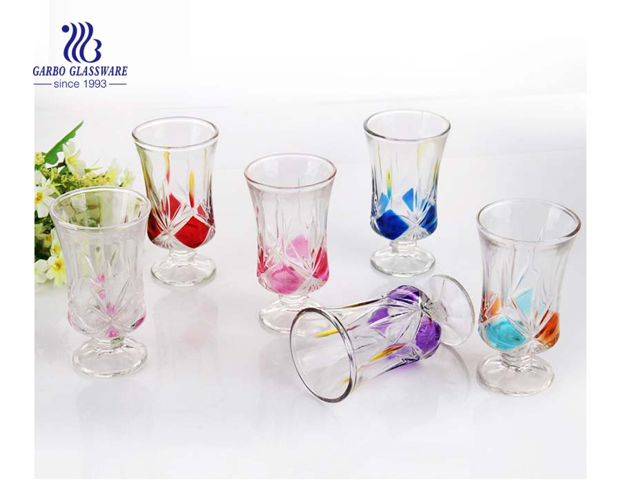 Vintage drinking glasses customized spray colors decorative glass stemware