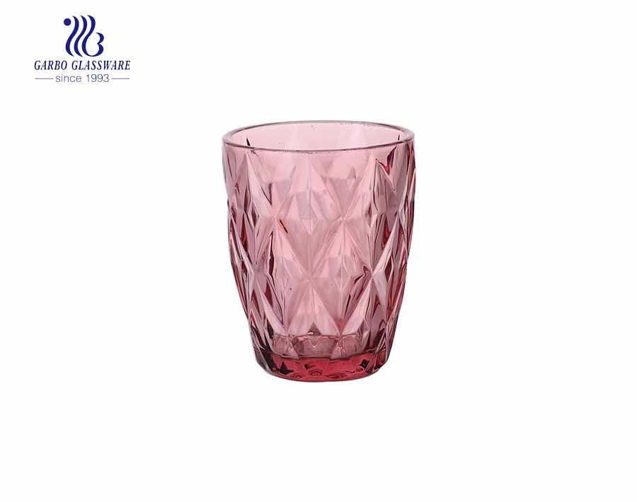 Set of 6 Drinking Glasses - Assorted Colored Drinking Glasses Water Cups Juice Tumblers