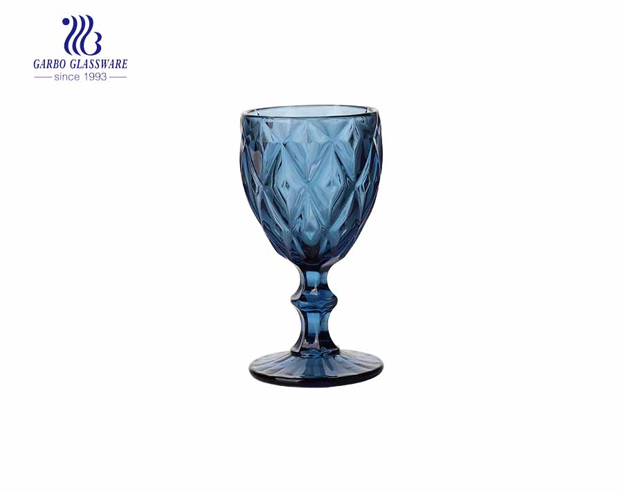 240ml Wine Goblet Beverage Glass Cup by Garbo- Dark blue - Set of 6