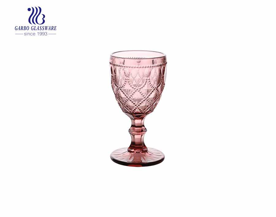 240ml Wine Goblet Beverage Glass Cup by Garbo- Dark blue - Set of 6