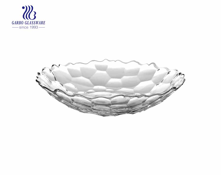 9.5 inch wholesale glass plate fruit fashionable glass fruit dish for sale