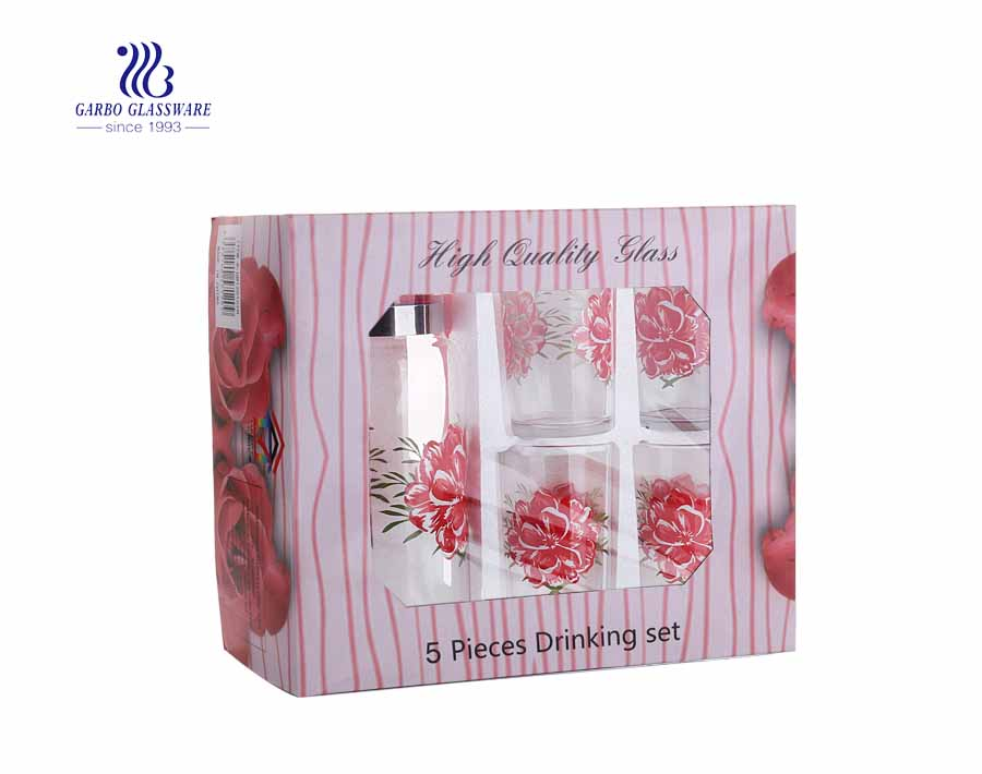 Set of 5pcs jug and cup water juice glass set with print flower design