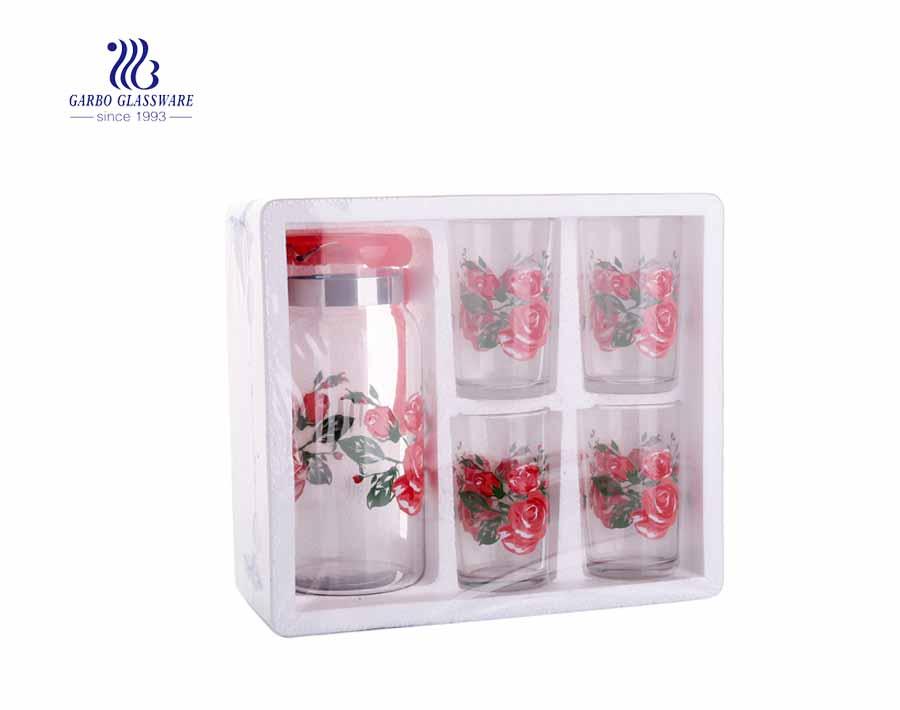 طقم من 5 قطع اباريق وكوب زجاج عصير ماء مع تصميم زهرة طباعة
