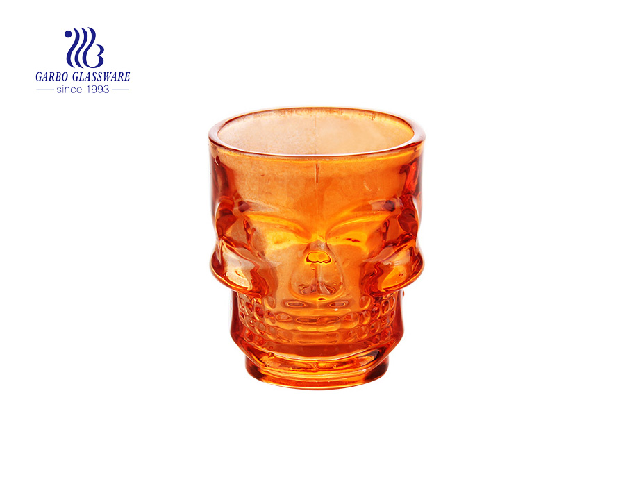 Skull shaped shot glasses spray color custom spirit liquor glasses