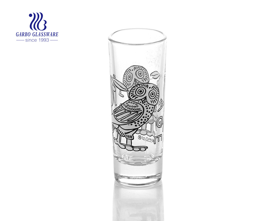 Personalized shot glasses Greece beaches decal promotional tall shot glasses