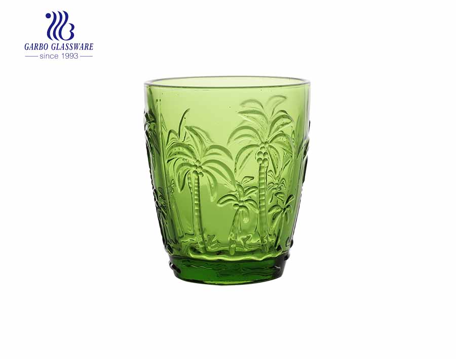 Green Vintage Drinking Glasses, 10 oz Embossed Romantic Water Glassware, Glass Tumbler Set for Juice, Beverages, Beer, Cocktail