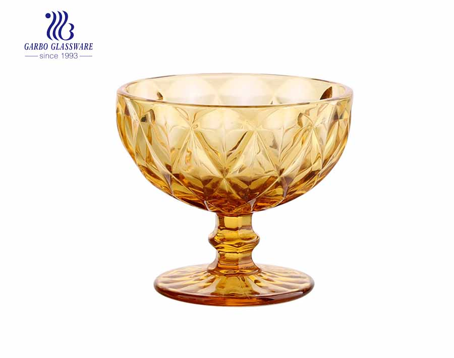 Diamond Dessert Cups, 10 Ounce Ice Cream Bowl or Sundae Cup, Yellow color Glass Tumblers Including Long Handle ,Set of 6 Each