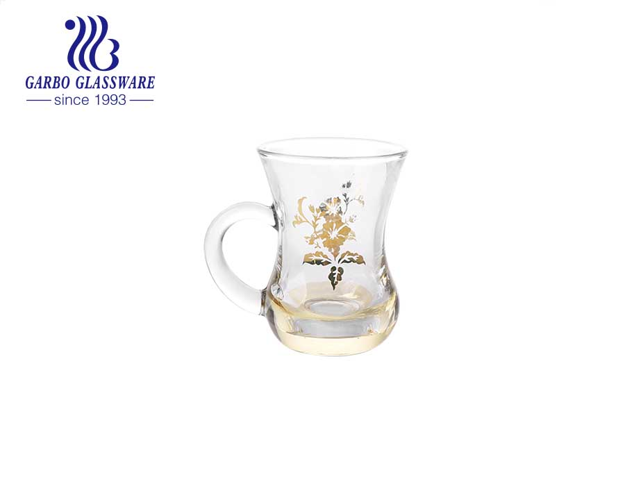 Wholesale Arabic Style Transparent Customized Decal Glass Coffee Tea Mug with Factory Price
