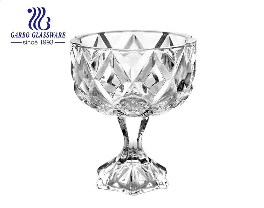 5.12 inch custom logo sodalime glass fruit bowl  personality style best selling glass fruit bowl