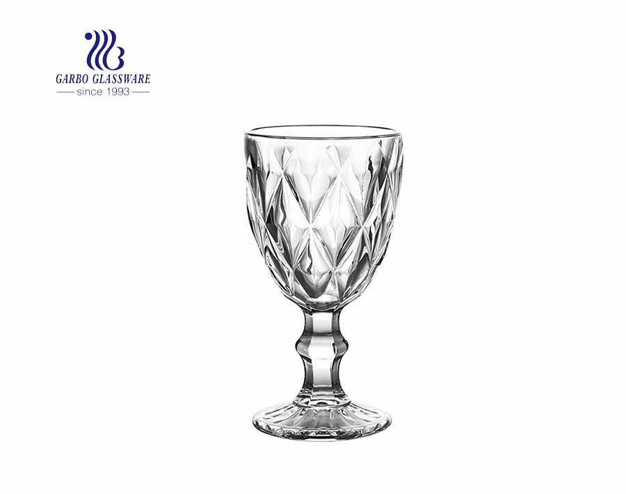 Heavy base clear vintage stemware engraved wine glasses with big diamond design