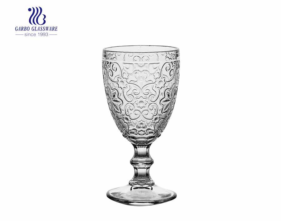 Heavy base clear vintage stemware engraved wine glasses with big diamond design