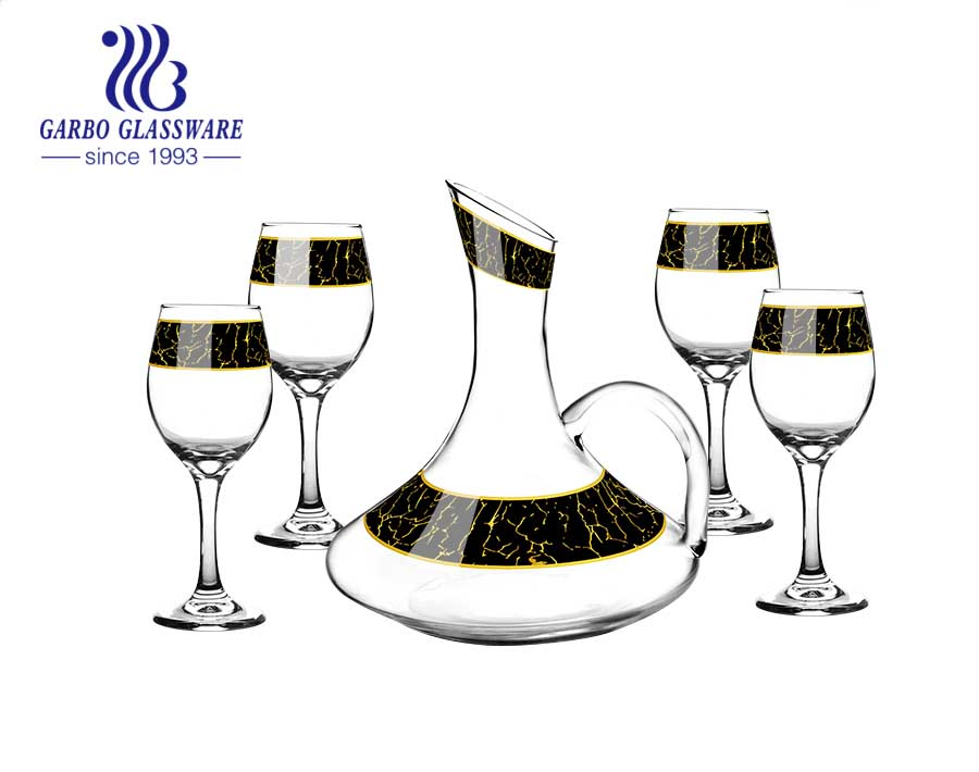 Middle east hot selling stone decal 325ml wine and 1500ml decanter drinking glasses set
