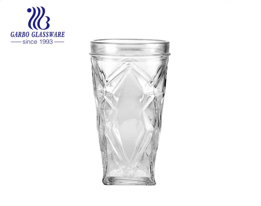 China clear embossed glass cup cheap engraved water juice glass tumbler
