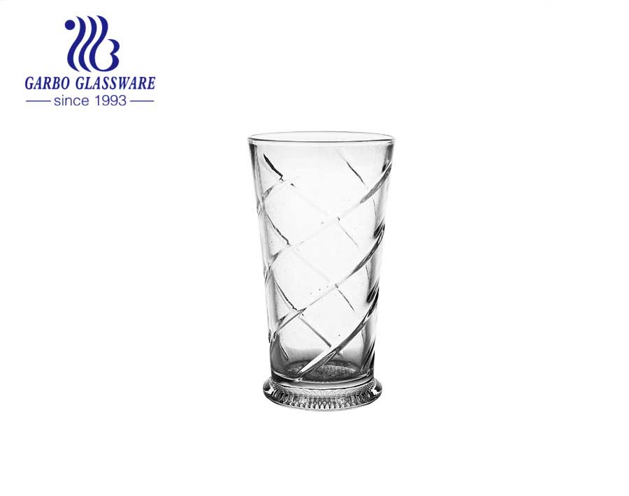 10oz cheap highball glass clear embossed glassware made in China