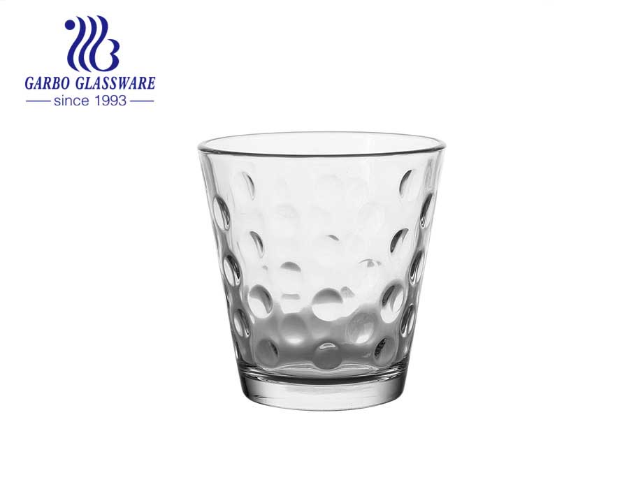 Cheap price machine made inside embossed glass cup