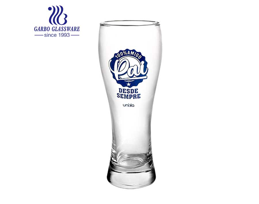 British style pub glass barware with logo Pilsner glass cup for beer