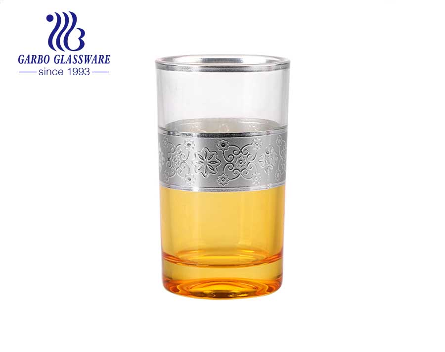 Cheap price colored glass tea cup with electroplated silver rim