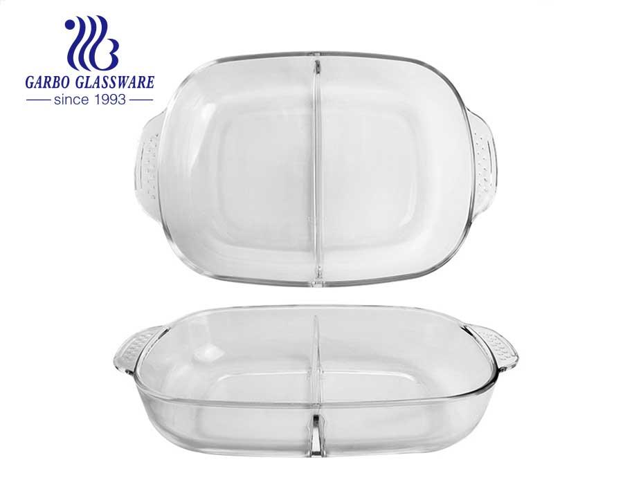 14 polegadas reutilizável atacado uso doméstico vidro assadeira design inovador design mais recente estilo borosilicato placa de cozimento de vidro