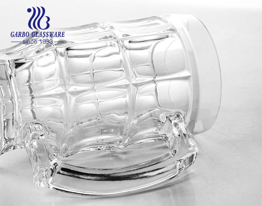 14oz Custom beer glasses clear large beer mug with handle for pub bar party