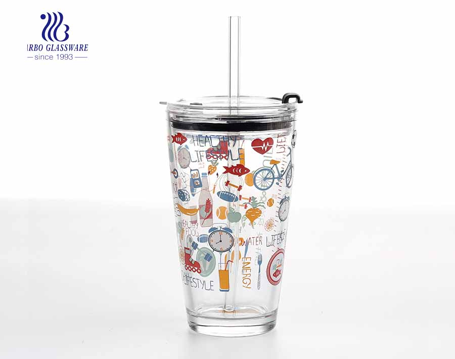 16oz large v shape glass tumbler with lid and glass straw