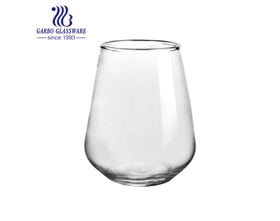 Vaso redondo de vidrio con forma de bola para jugos y bebidas en stock
