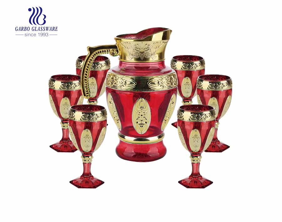 7PCS Wholesale Colored Golden Water Jug Set Water Pitcher Set for Home Decoration with Factory Price