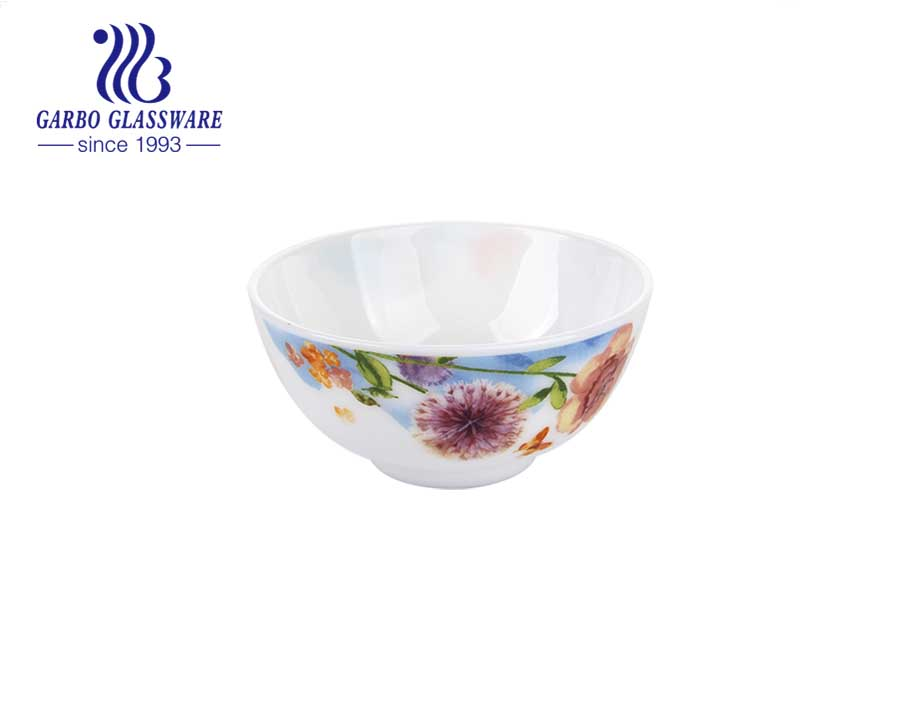 5inch round white opal glass French Garden Rice Bowl for dinnerware