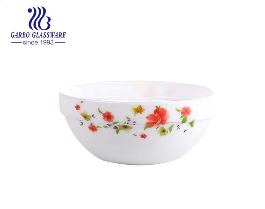 5 Zoll rundes weißes Opalglas French Garden Rice Bowl für Geschirr